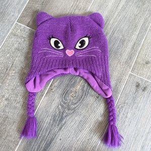 Childrens Place Purple Cat Beanie Winter Hat